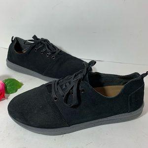 Toms Mens Size 10.5 Black Canvas Tennis Shoes